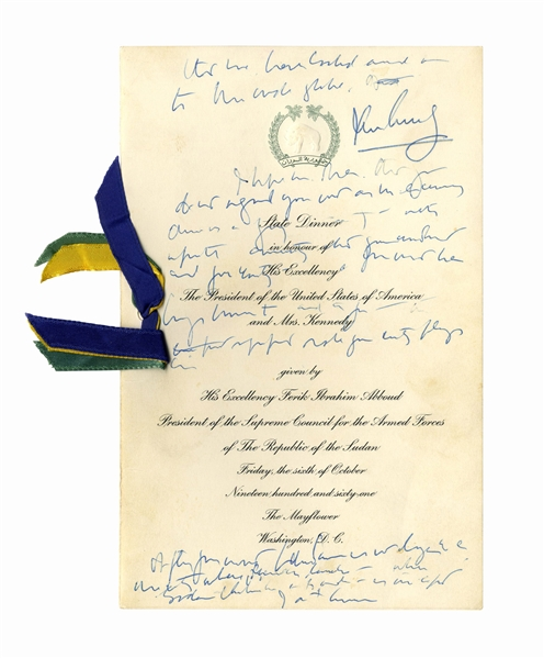 John F. Kennedy Signed, Handwritten Speech Draft as President, From 1961 -- JFK Speaks at a State Dinner With Sudanese President Ibrahim Abboud