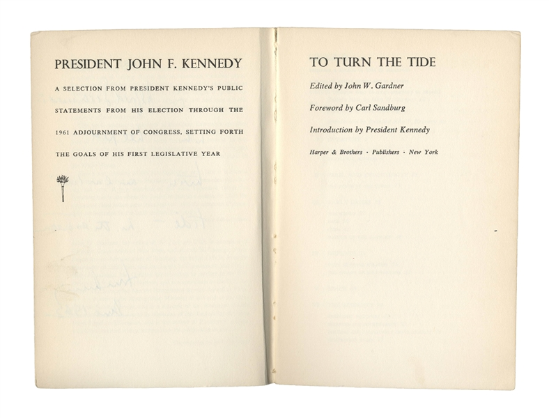 John F. Kennedy Signed Book as President -- JFK Inscribes ''To Turn the Tide'' to Photographer Alfred Eisenstaedt ''...who helped turn an earlier tide...'' -- With Slide Photo of JFK Signing