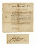John Hancock Military Appointment Signed as Governor of Massachusetts