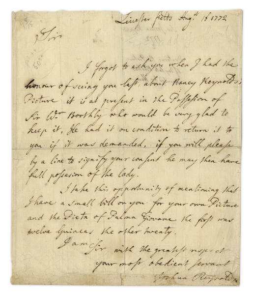 Sir Joshua Reynolds Autograph Letter Signed -- Reynolds Corresponds With a Patron (Likely Sir William Hamilton) in 1772, Asking for Payment of 32 Guineas for Two Paintings