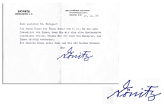 German Admiral Karl Donitz Typed Letter Signed on His Personal Stationery