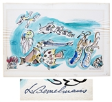 Ludwig Bemelmans Watercolor From Marina, Measuring 24 x 16.5 -- Featuring a Panoply of Sea Creatures