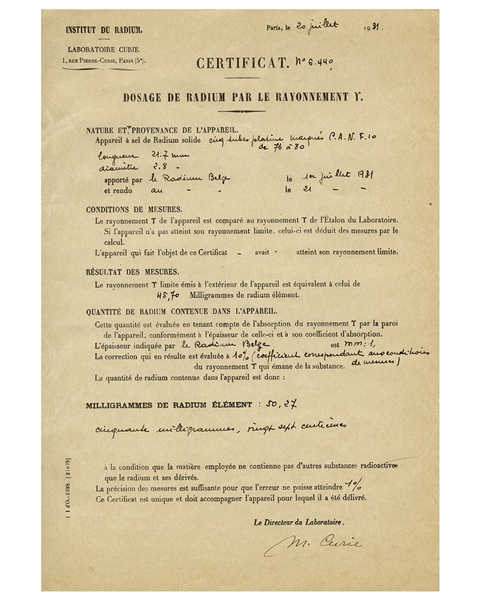 Scarce Marie Curie Signed Document From Her ''Institut du Radium'' Laboratory -- Curie Signs Off on an Experiment in Her Lab