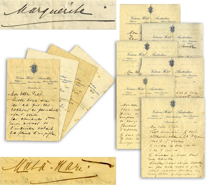 Mata Hari Autograph Letters Signed to Her Lover -- ''...I understand...when a woman forgives the lover that she depends on, but since I loved you only for who you are, I do not forgive you...''