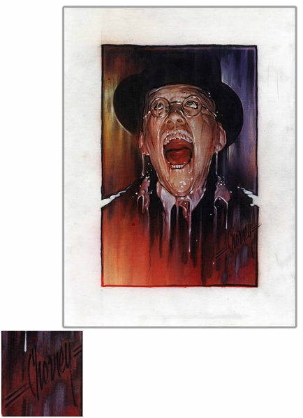 Steven Chorney Painting From ''Raiders of the Lost Ark'' of the Infamous ''Melting Nazi'' -- Published in the Indiana Jones Topps Collector Cards Series
