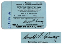 Milton Berles 1963 AFTRA Card -- The American Federation of Television and Radio Artists