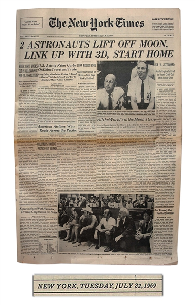 ''The New York Times'' From 22 July 1969, the Day After Apollo 11 Leaves the Moon -- ''2 Astronauts Lift off Moon''
