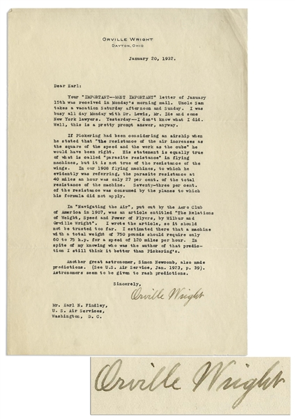 Orville Wright Letter Signed Regarding the 1908 Flyer & a Harvard Astronomer's Prediction That Planes Would Never Surpass Cars in Speed -- ''...Astronomers seem to be given to rash predictions...''