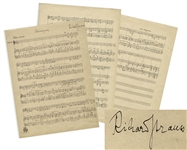 Richard Strauss Signed, Handwritten Musical Manuscript for the Final Scene in His Opera, Die schweigsame Frau