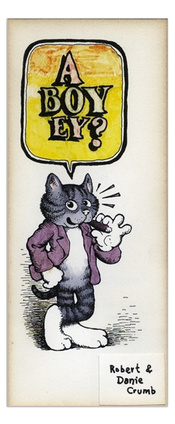 Robert Crumb Original Color Drawing of Fritz the Cat -- Gifted to Crumb's Then Publisher in 1968 Upon the Birth of His Child