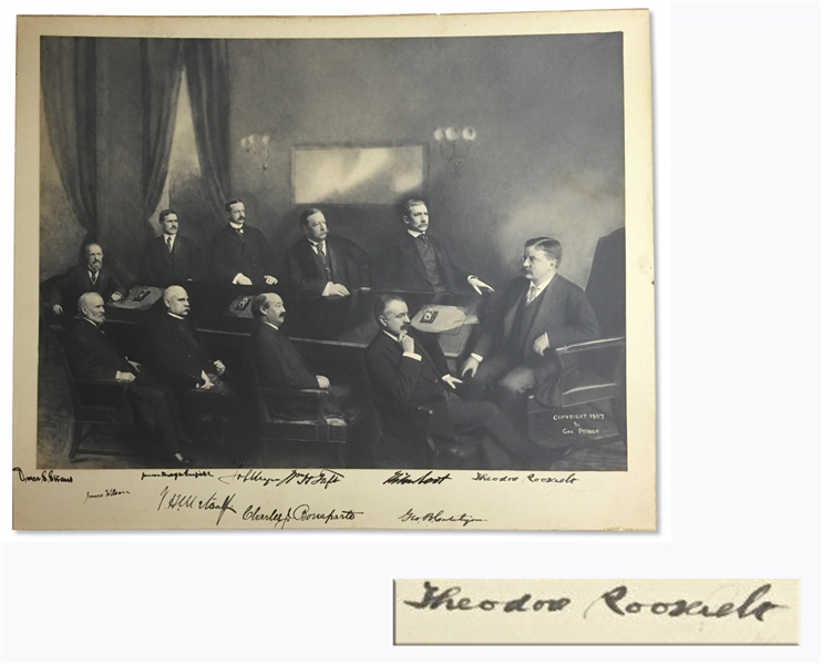 Theodore Roosevelt Signed Cabinet Photo -- Roosevelt Signs the Photo, Along With Nine Members of His Cabinet, Including William Taft -- With University Archives COA