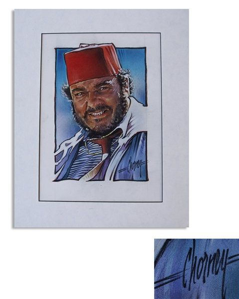 Steven Chorney Painting From ''Raiders of the Lost Ark'' of the Character ''Sallah'' -- Published in the Indiana Jones Topps Collector Cards Series