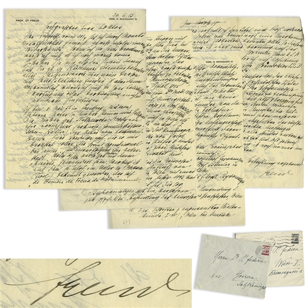 Rare Sigmund Freud Autograph Letter Signed on His Jewish Roots & Psychoanalysis -- ''...the Freud family is said to sometime have left their hometown of Köln during a period of persecution of Jews...