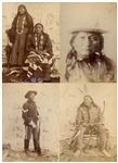 Nineteenth Century Albumen Photograph of Sitting Bull Measuring 3.75 x 5.25 -- Along With Photographs of Indian Policeman Fast Horse, Chief Flying Horse, and The Misses Few Tails