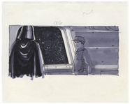 Storyboard From the Empire Strikes Back Depicting Darth Vader -- From the Collection of Art Director Joe Johnston