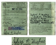 Sylvia Plath Twice-Signed Drivers License From 1958 -- Plath Also Handwrites Her Addresses, Including 9 Willow St.