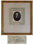 Thomas Jefferson Signature -- Beautifully Framed With an Engraving of Jefferson