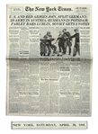 WWII New York Times Newspaper From 28 April 1945 -- The Day of Mussolinis Capture