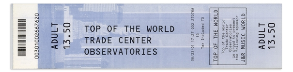 World Trade Center 2001 Observatory Ticket -- From 3 Weeks Before 9/11