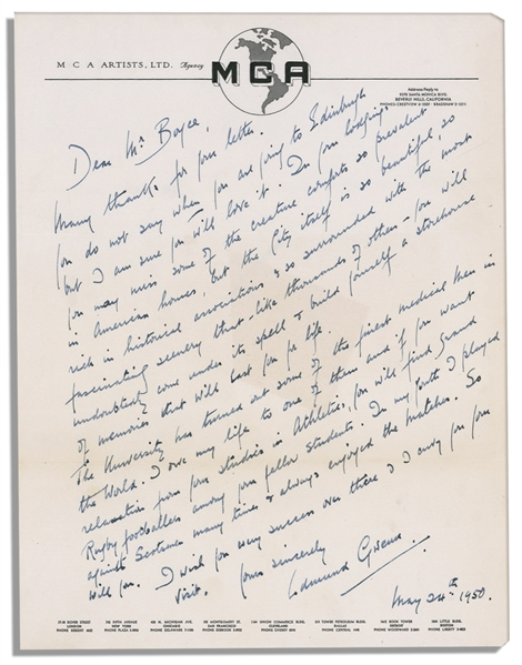 'Miracle on 34th Street'' Actor Edmund Gwenn Autograph Letter Signed -- the Oscar Winning ''Kris Kringle'' Writes a Lengthy Letter, ''...you will undoubtable come under its spell...''