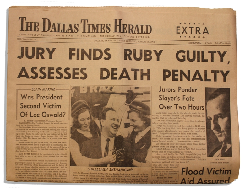 Extra Edition ''Dallas Times Herald'' Newspaper From 14 March 1964 -- Regarding the Jack Ruby Trial -- ''Jury Finds Ruby Guilty...''