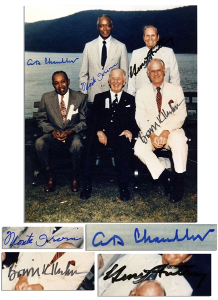 Cooperstown Hall of Fame Induction 8'' x 10'' Photo Signed by HOFers Bowie Kuhn, Monte Irvin, A.B. ''Happy'' Chandler and Team Owner, American League VP Gene Autry
