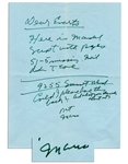 Mario Puzo Autograph Letter Signed -- Godfather Author Asks His Literary Agent for Comments on a Script