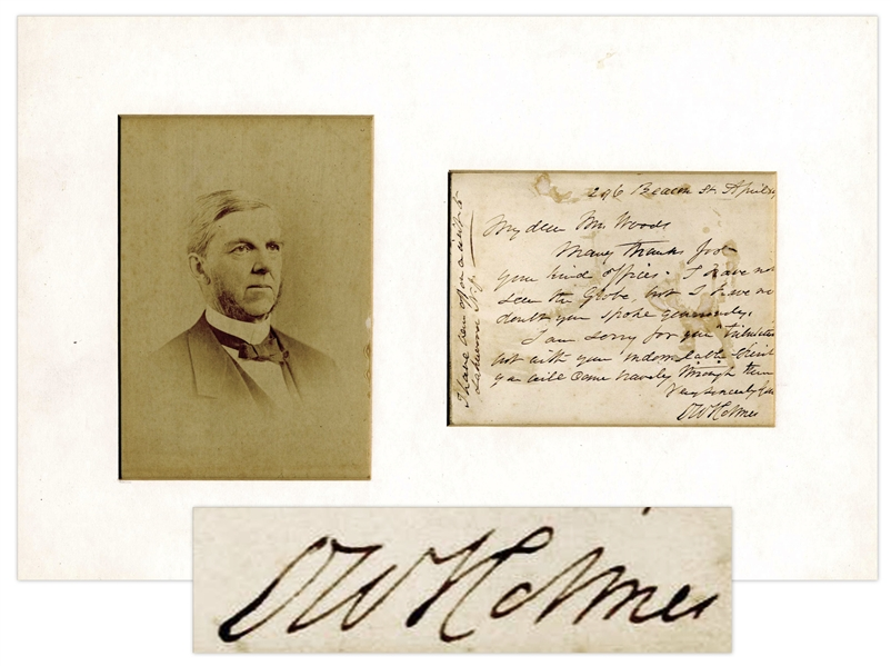 Oliver Wendell Holmes Sr. Autograph Letter Signed -- ''...I am sorry for your 'tribulations' but with your indomitable spirit you will come bravely through them...''