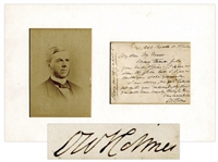Oliver Wendell Holmes Sr. Autograph Letter Signed -- ...I am sorry for your tribulations but with your indomitable spirit you will come bravely through them...