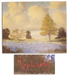Thomas L. Lewis Signed 20 x 16 Oil Painting -- Depicting Texas Bluebonnets