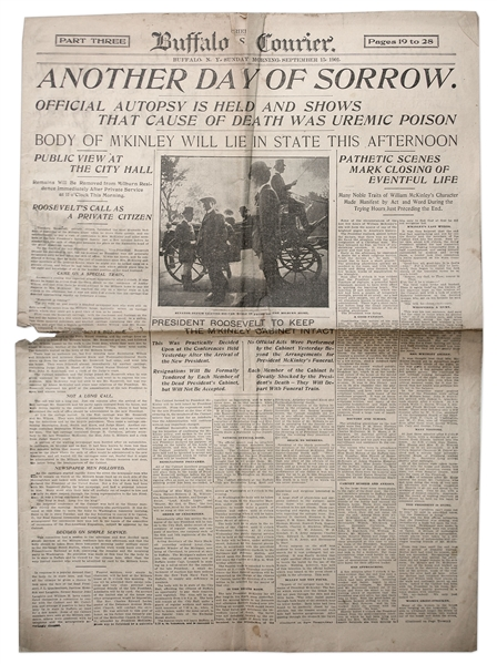 William McKinley Assassination Newspaper From Buffalo, Where He Was Shot -- Covers Final Moments & Autopsy Results -- ''The bullet has not yet been found...''