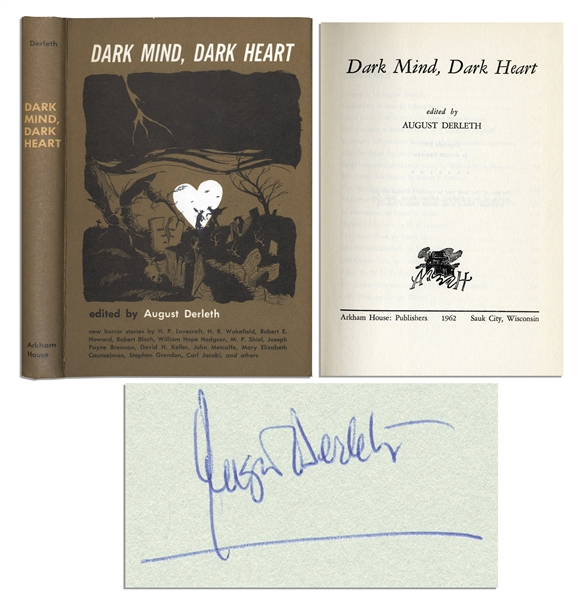 August Derleth ''Dark Mind, Dark Heart'' First Edition Signed -- One of Only 2,493 First Edition Copies