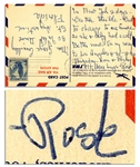 Rose Kennedy Handwritten Postcard From Los Angeles -- Bear Hugs - Rose