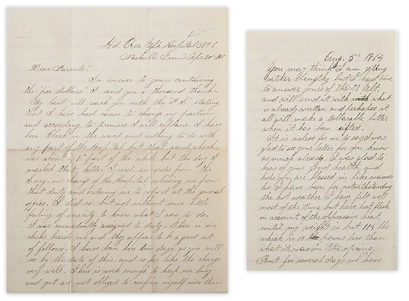Civil War Letter Lot by a 36th Illinois Infantryman WIA at Murfreesboro -- ''...had the satisfaction of seeing at least 2 of the enemy fall before my gun when a ball struck my left leg...''