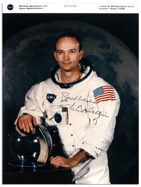 Michael Collins Signed NASA 8'' x 10'' Photo -- ''Best Wishes / Michael Collins'' -- With NASA Backstamp -- Near Fine
