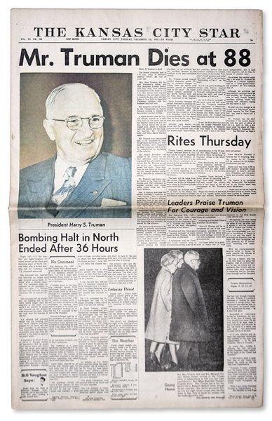 Harry Truman's Death Announced in ''The Kansas City Star'' Newspaper