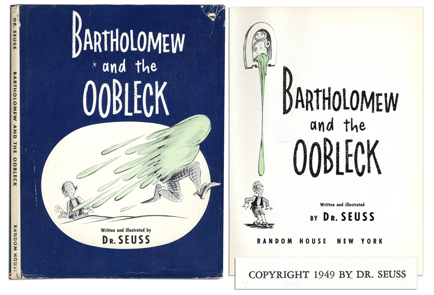 Dr. Seuss' ''Bartholomew and the Oobleck'' First Edition, First Printing With First Printing Dust Jacket