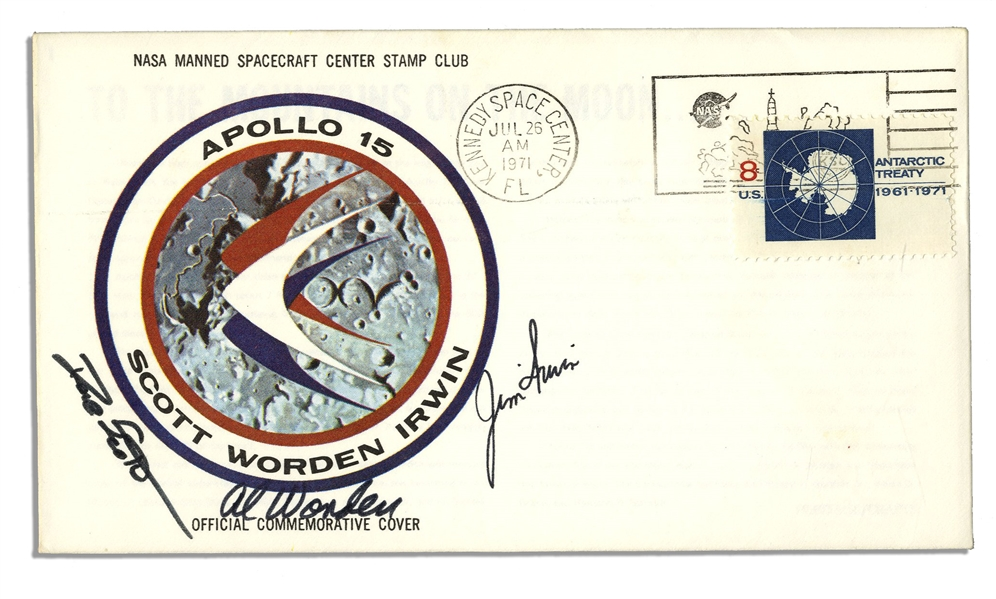 Apollo 15 Crew-Signed NASA Astronaut Insurance Cover -- Signed ''Al Worden'', ''Dave Scott'' & ''Jim Irwin'' -- Cancelled 26 July 1971 -- 6.5'' x 3.75'' -- Near Fine -- With COA From Worden
