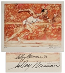 LeRoy Neiman Signed Lithograph of Jesse Owens From Owens Estate -- Part of a Limited Edition of 100 Made Only for Friends & Family