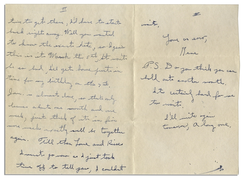 WWII Hero Rene Gagnon Autograph Letter Signed -- ''...about my furlough...just think of it in five more weeks exactly well be together again...''