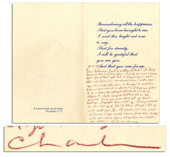 Charles ''Tex'' Watson Autograph Letter Signed Within a Religious Greeting Card -- ''...I will be sure + keep your friend that got bit in my prayers!...''