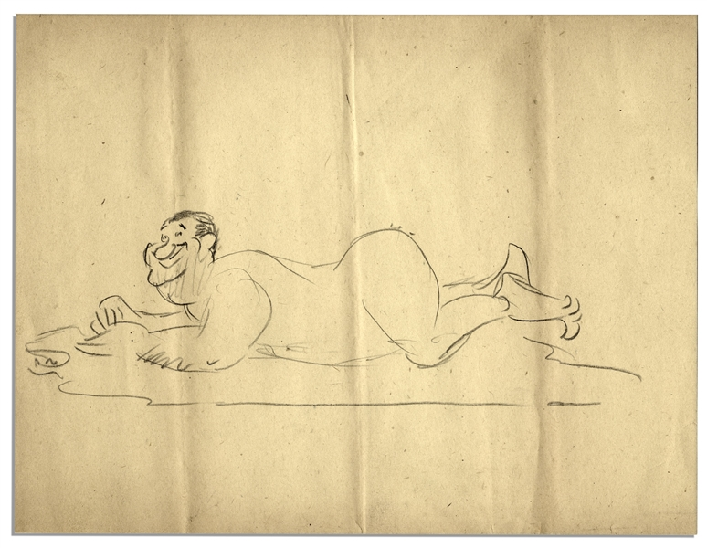 Al Capp Hand-Drawn Caricature Sketch of Himself Posing Nude on a Bear Rug