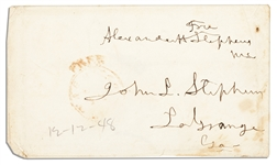 Confederate Vice President, Alexander Hamilton Stephens Free Frank Signature