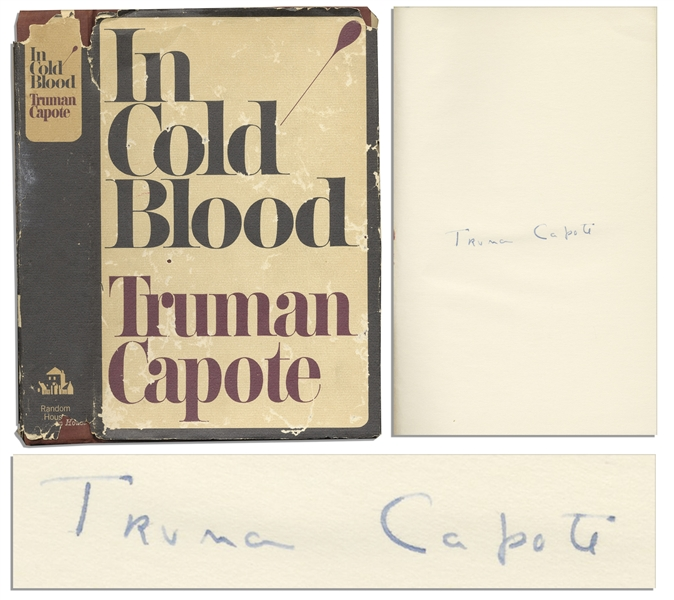 Truman Capote's True Crime Masterpiece ''In Cold Blood'' First Edition, First Printing Signed Tipped-In Page
