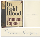 Truman Capotes True Crime Masterpiece In Cold Blood First Edition, First Printing Signed Tipped-In Page
