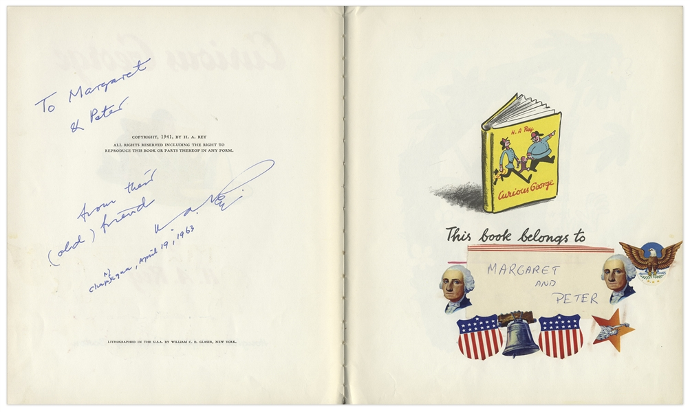 ''Curious George'' First Edition Signed by H.A. Rey -- First Book From 1941