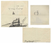 Dwight D. Eisenhower Sketch as President -- Eisenhower Draws a House, Resembling His Gettysburg Farm House Which He Used as a Retreat During His Presidency