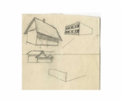 Dwight D. Eisenhower Sketch as President -- Eisenhower Draws a Farmhouse Barn