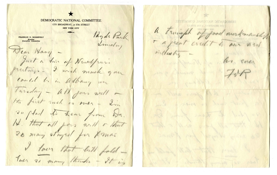 Franklin D. Roosevelt Autograph Letter Signed, Just Days Before His Inauguration as Governor of New York -- ''...I wish much you could be in Albany on Tuesday...''