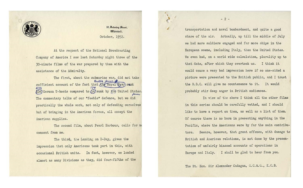 Winston Churchill Manuscript as Prime Minster -- Refuting an American Broadcast on the U.S.'s Importance in the WWII European Theater -- ''...we did practically the whole work...''